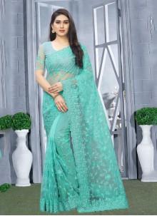 Turquoise Wedding Net Classic Saree