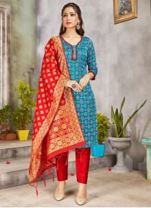 Turquoise Woven Art Banarasi Silk Pant Style Suit