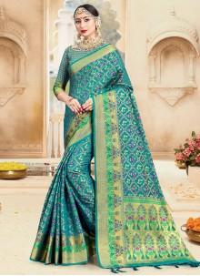 Turquoise Woven Ceremonial Designer Traditional Saree