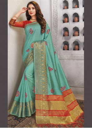 Turquoise Woven Traditional Saree