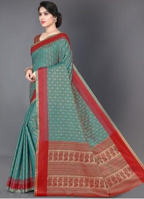Turquoise Woven Trendy Saree