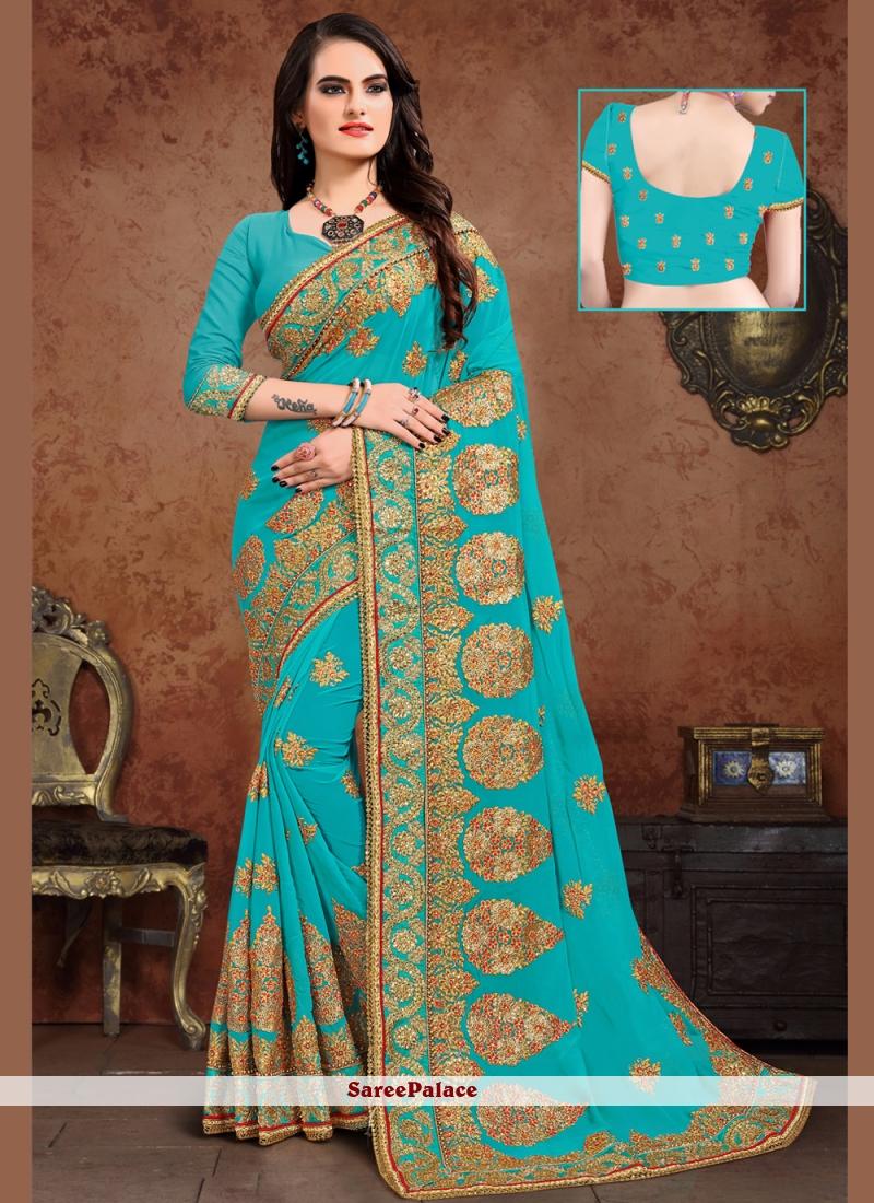 Turquoise Zari Georgette Designer Saree