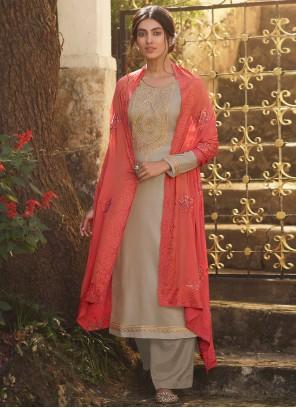 Tussar Silk Beige Embroidered Designer Palazzo Salwar Kameez