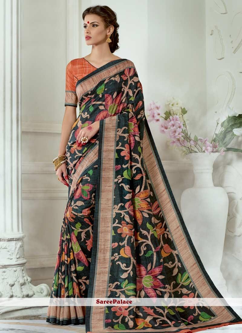 Tussar Silk Black Casual Saree