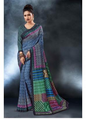 Tussar Silk Blue Printed Saree