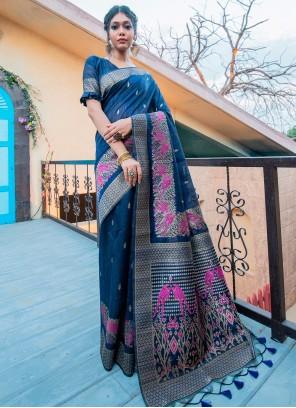 Tussar Silk Blue Traditional Designer Saree
