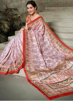 Tussar Silk Digital Print Multi Colour Trendy Saree