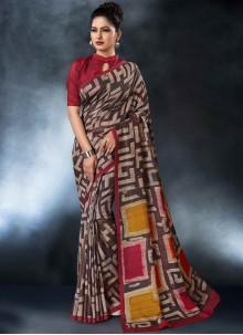 Tussar Silk Digital Print Printed Saree in Multi Colour