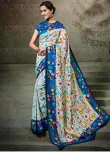 Tussar Silk Digital Print Traditional Saree in Multi Colour