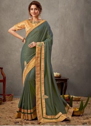 Tussar Silk Embroidered Classic Designer Saree in Green