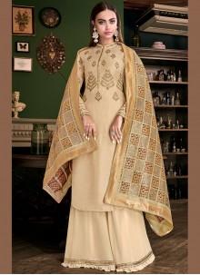 Tussar Silk Embroidered Cream Designer Palazzo Suit