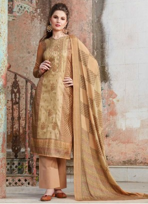 Tussar Silk Embroidered Designer Palazzo Suit in Beige