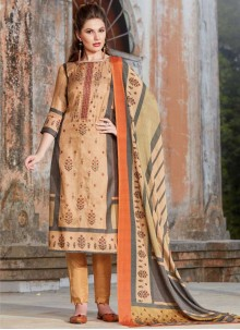 Tussar Silk Embroidered Peach Pant Style Suit
