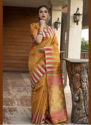 Tussar Silk Mustard Festival Designer Traditional Saree