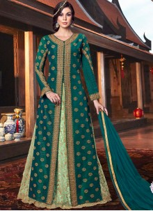 Tussar Silk Green Lace Floor Length Anarkali Suit