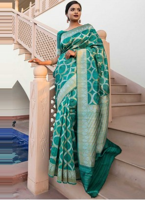 Tussar Silk Green Weaving Designer Saree
