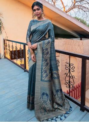 Tussar Silk Grey Designer Traditional Saree