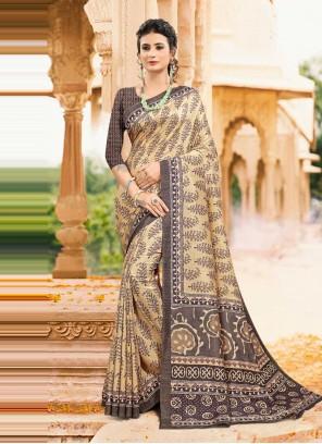 Tussar Silk Multi Colour Digital Print Printed Saree