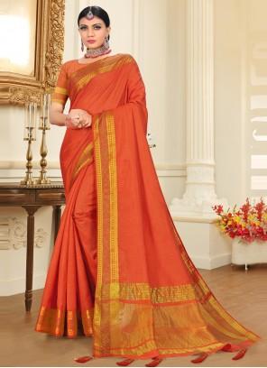Tussar Silk Orange Woven Traditional Saree