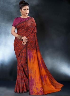 Multi Color Tussar Silk Party Printed Saree