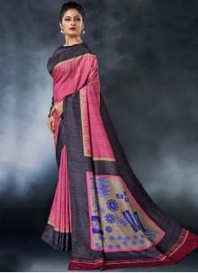 Tussar Silk Pink Printed Saree