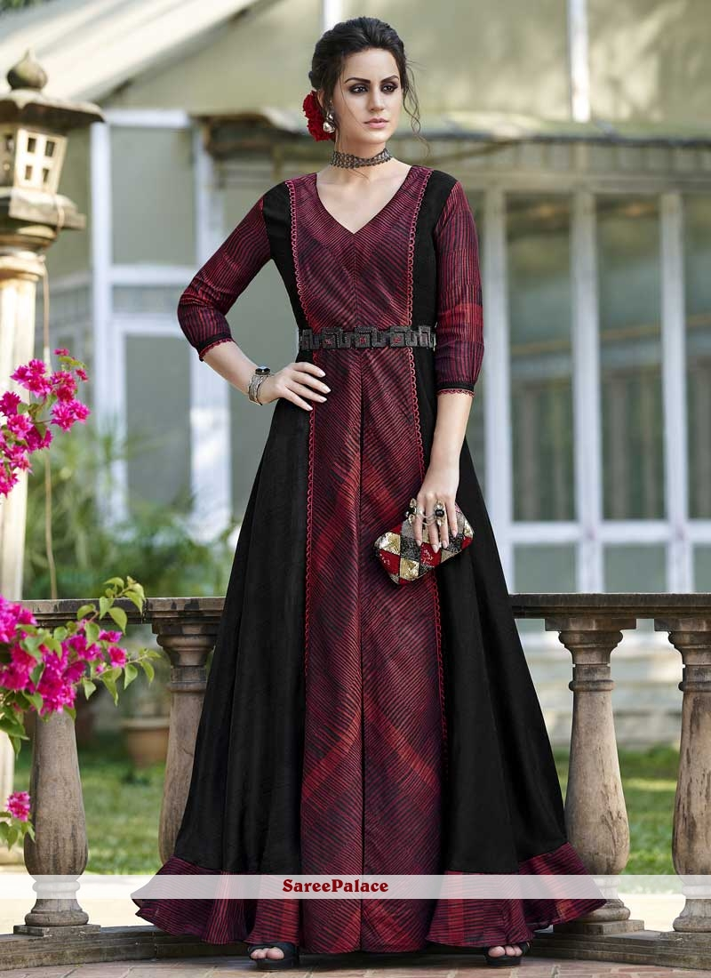 Tussar Silk Print Designer Gown in Black and Maroon