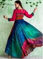 Tussar Silk Print Work Readymade Gown