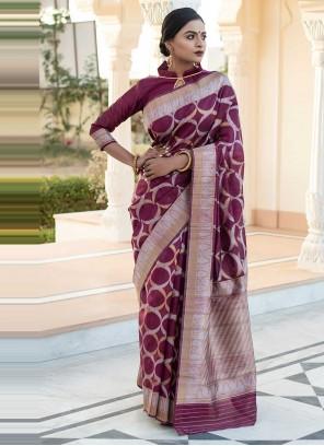 Tussar Silk Weaving Designer Saree in Wine
