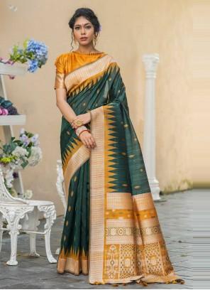 Tussar Silk Weaving Designer Traditional Saree