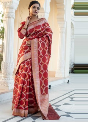 Tussar Silk Weaving Red Designer Saree