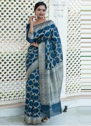 Tussar Silk Weaving Traditional Designer Saree in Blue