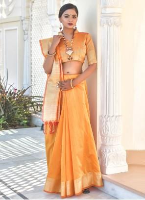 Tussar Silk Yellow Weaving Traditional Saree