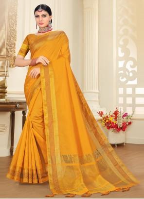Tussar Silk Yellow Woven Traditional Designer Saree