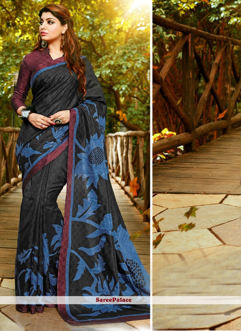Unique Art Silk Black Print Work Printed Saree