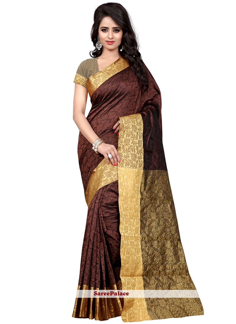 Unique Weaving Work Brown Traditional  Saree