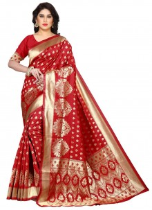 Uppada Silk Weaving Red Designer Saree