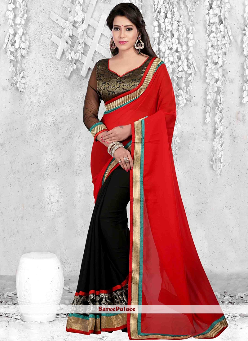 Urbane Faux Georgette Black and Red Casual Saree