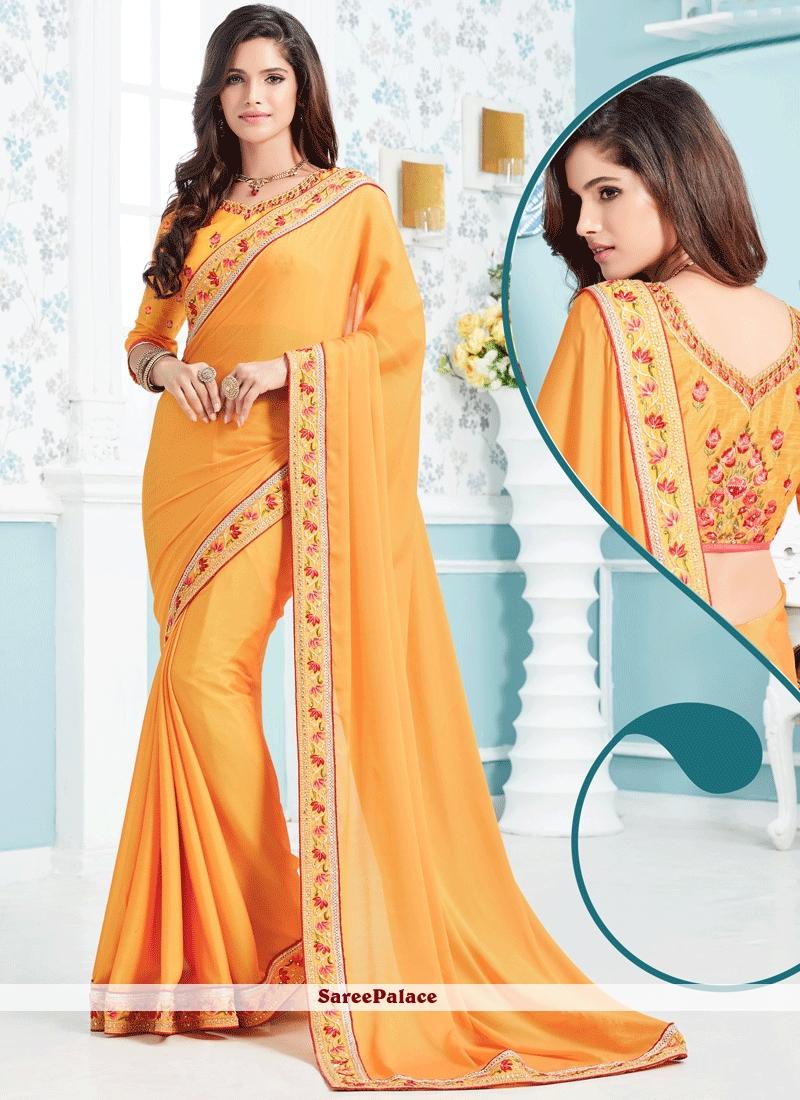 Urbane Orange Art Silk Designer Traditional Saree