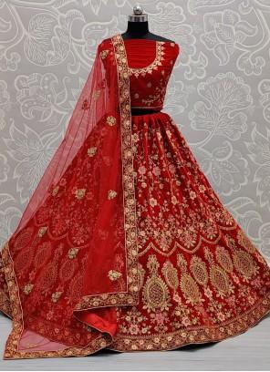 Velvet A Line Lehenga Choli in Red