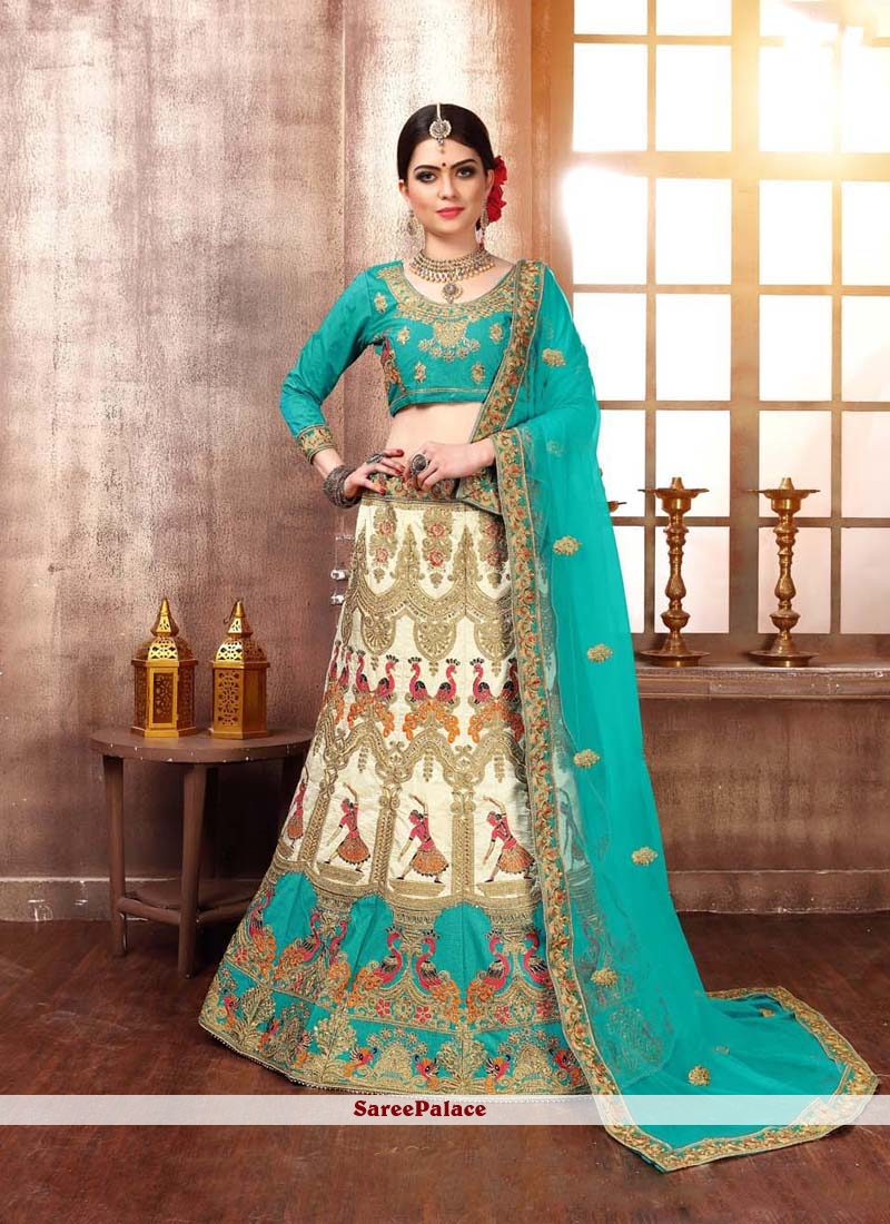 c804d8b22f Buy Velvet Blue and Off White Designer Lehenga Choli Online