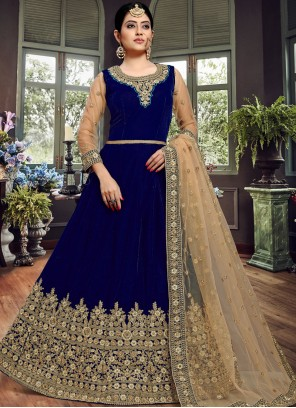 Velvet Blue Resham Floor Length Anarkali Suit