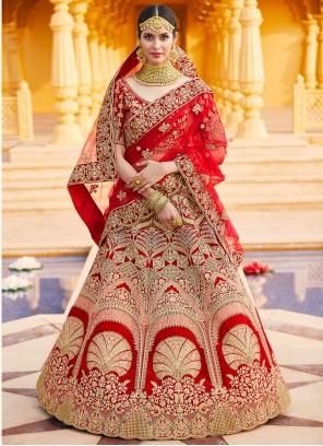 Red Velvet Bollywood Lehenga Choli