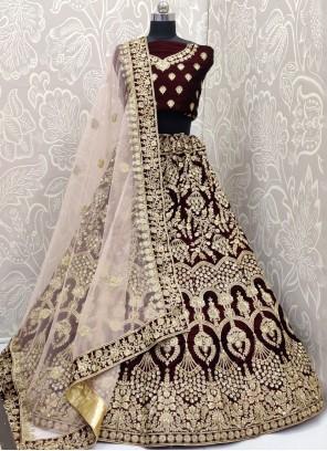Velvet Bridal Designer A Line Lehenga Choli
