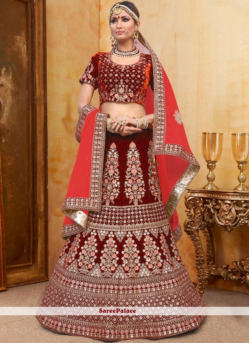 Velvet Designer A Line Lehenga Choli in Red