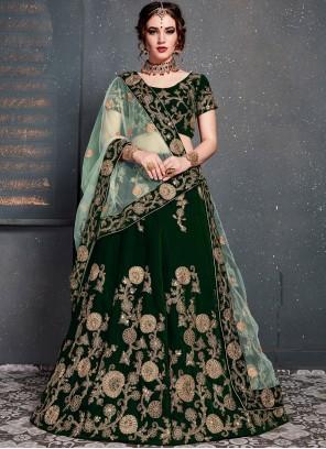 Velvet Designer Lehenga Choli in Green