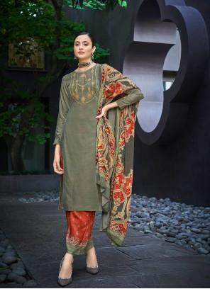 Velvet Designer Palazzo Salwar Kameez in Green