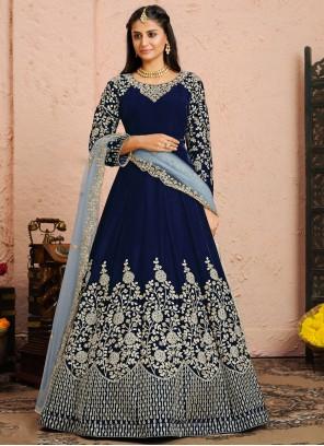 Velvet Embroidered Anarkali Salwar Kameez in Blue