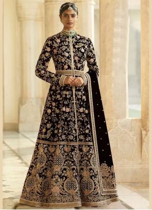 Velvet Embroidered Black Anarkali Salwar Kameez
