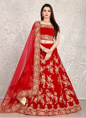 Velvet Embroidered Bollywood Lehenga Choli in Red