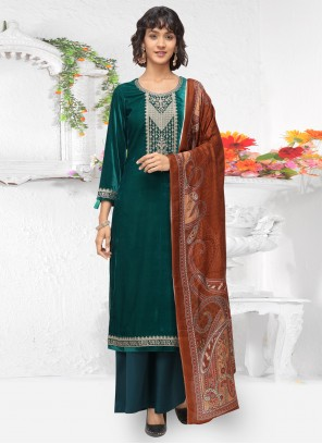 Velvet Embroidered Green Salwar Kameez